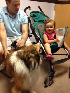 Jackie hanging out with the family after getting his ultrasound results. Later we took him out for a cheeseburger